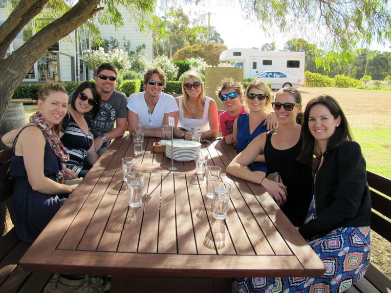 The lunchtime crew, come from all over the country to enjoy the wine.