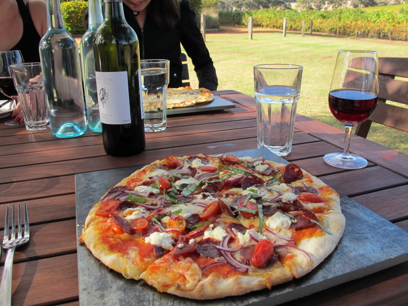 Venison chorizo pizza and Sangiovese.