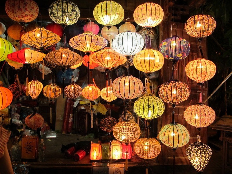 Lanterns for sale in the markets.