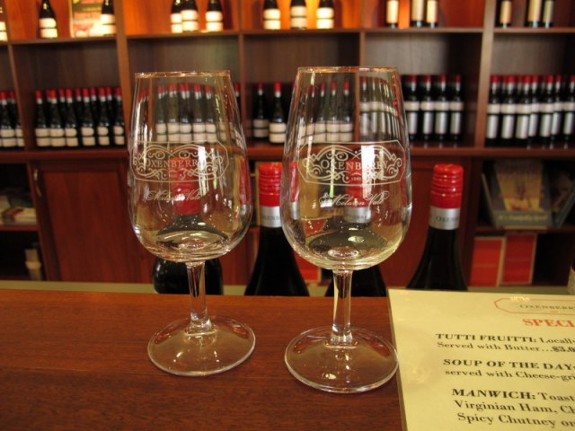 Tasting glasses at Oxenberry. Impeccable hosts, helpful and generous.