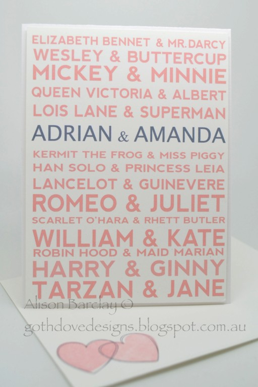 Personalised wedding card by Alison at Goth Dove