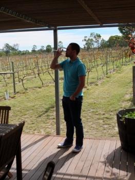 Husband 'sampling' the wines.