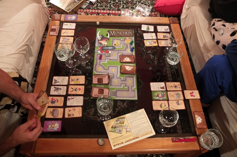 Munchkin. A fun board game with silly graphics that was a lot of fun over wine and cheese.