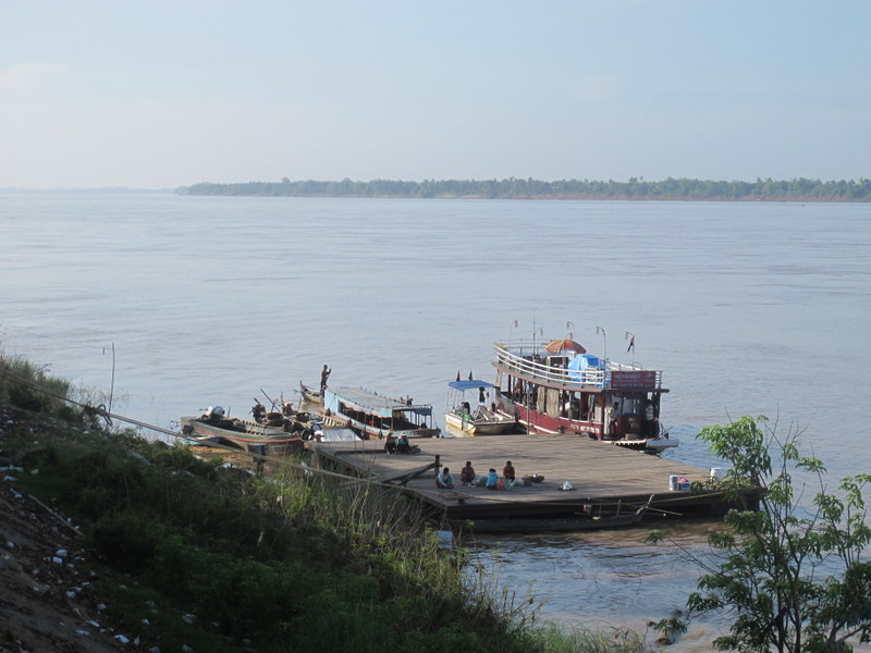 The dock in Kratie, with locals waiting for transport up or down river.
