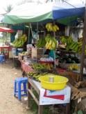Banana seller in the market, Kratie.