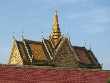 The beautiful Royal Palace rooves in Phnom Penh.