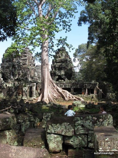 Local children spending their days amongst the temples and trees at Angkor.