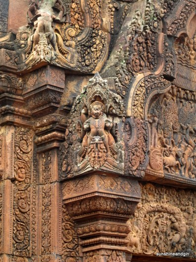 Incredible colour and carvings at Banteay Srei.