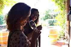 Sampling wines at Witches Falls