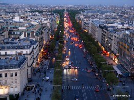 Dusk falling over the Champs-Elysees