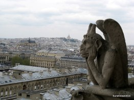 Gargoyles of Ntre Dame looking out over Paris