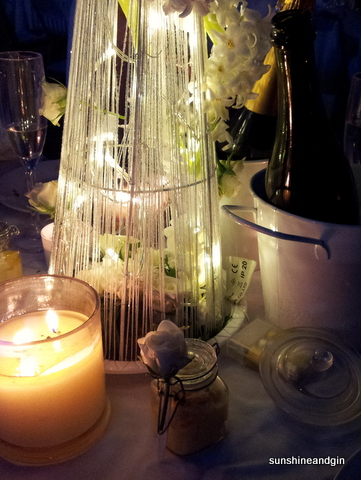 Some of our decorations - candles, flowers, sparkling wine and mini-trifles.