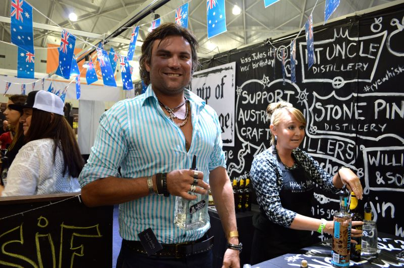 Mark from Mt Uncle Distillery at the Nip of Courage stand at Good Food and Wine stand