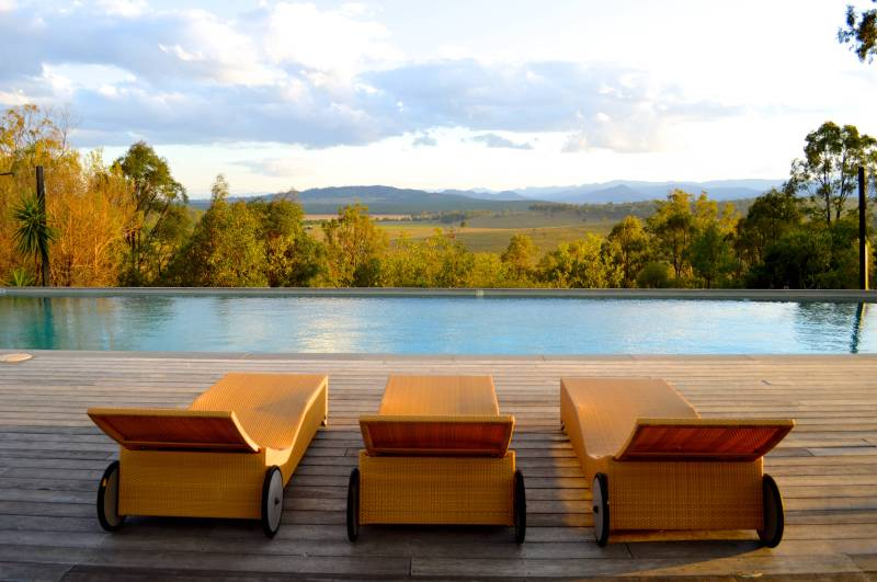 The pool overlooking distant mountains at Spicers Hidden Vale