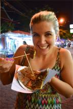 Kirst enjoying a nutella pancake in Bangkok