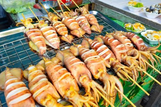 Whole BBQ squid in Bangkok