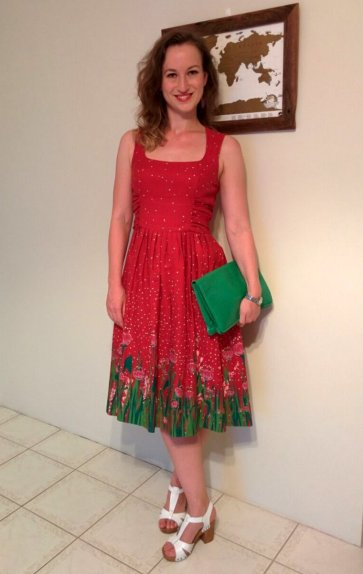 Birgit in her $100 Maiocchi dress, bought in a February 2015 sample sale.