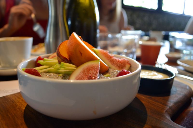 Chia pudding with fresh fruit at Mondo Organics