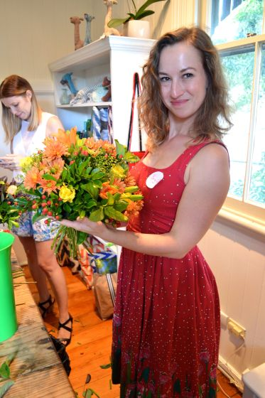 B and her bouquet